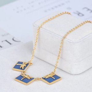 🎁NWT Tory Burch Square Inlaid Dragonfly Necklace